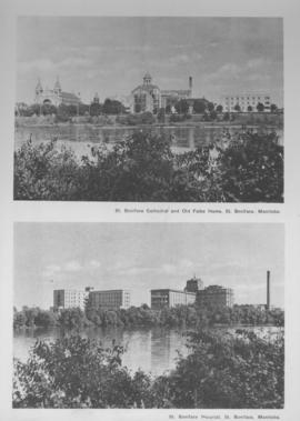 2 views: 1) St. Boniface Cathedral and Old Folks Home, St. Boniface, Manitoba; 2) St. Boniface Hospital, St. Boniface, Manitoba