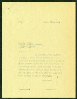 Finance Committee to H.A. Robson regarding food stuffs destroyed from May 15 to July 31, 1919