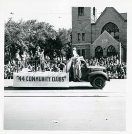 "Winnipeg's 75th Anniversary parade - R. Litz and Sons movers ""44 Community Clubs"" float"