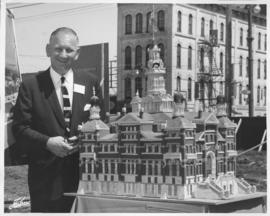 Mayor Stephen Juba with model of second City Hall at Groundbreaking Ceremony