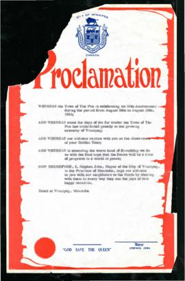 Proclamation - 50th Anniversary of the Town of The Pas
