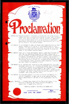 Proclamation - Federated Women's Institutes of Canada Week