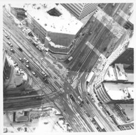 Aerial view of intersection at Portage Avenue and Main Street