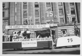 Holstein-Friesian Association float, Winnipeg's 75th Anniversary Parade