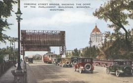 Osborne Street Bridge, showing the Dome of the Parliament Buildings, Winnipeg, Manitoba