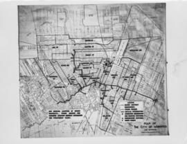 No. 4 Plan of City of Winnipeg and environs showing sewer district boundaries, trunk sewers, Greater Winnipeg Sanitary District Interceptor, sewage pumping stations and underpasses