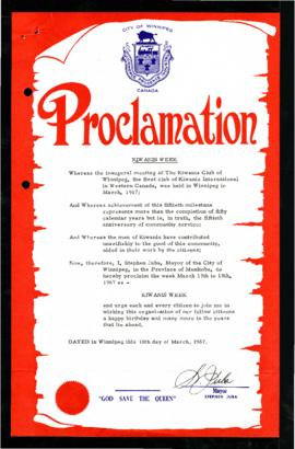 Proclamation - Kiwanis Week