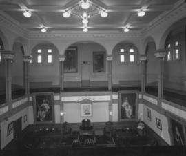 Interior of the Council Chamber at City Hall, view from upper level