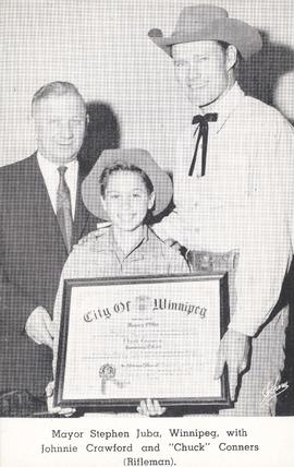 "Mayor Stephen Juba, Winnipeg, with Johnnie Crawford and ""Chuck"" Conners (Rifleman)"