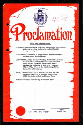 Proclamation - Coin and Stamp Week