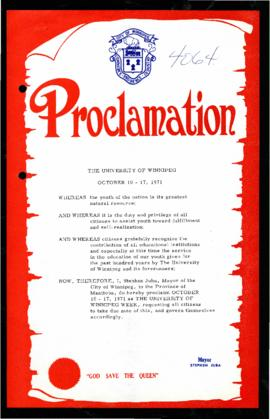 Proclamation - The University of Winnipeg Week