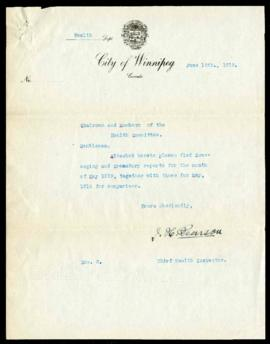 Scavenging and Crematory report for May, 1919