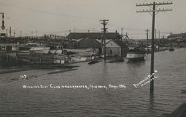 Winnipeg Boat Club under water, Norwood, April 1916