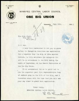 Request from the One Big Union to the Committee on Legislation and Reception for a donation