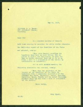 City Clerk to Alderman A.A. Heaps regarding formation of Special Committee to settle the civic st...