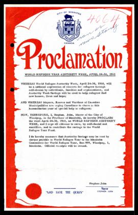 Proclamation - World Refugee Year Austerity Week