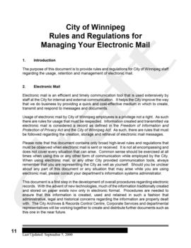 Draft version of City of Winnipeg Rules and Regulations for Managing Your Electronic Mail