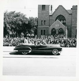 Winnipeg's 75th Anniversary parade - car carrying women