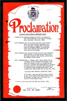 Proclamation - I.O.D.E 65th Annual Meeting Week
