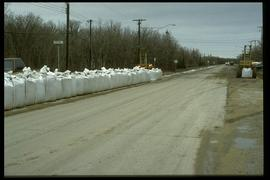 1997 flood - St. Mary's Road at Chrypko Drive - large sandbags