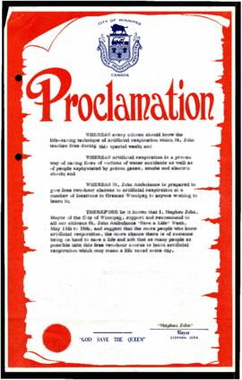 "Proclamation - St. John Ambulance ""Save a Life"" Week"
