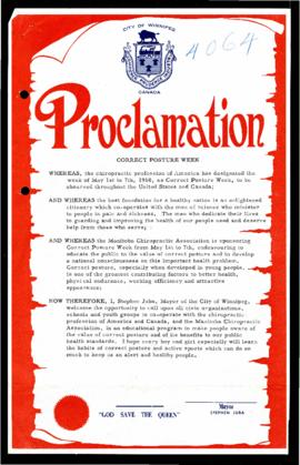 Proclamation for Correct Posture Week