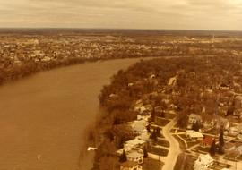 Aerial of 1974 Flood – Red River between East and West Kildonan