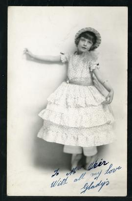Signed photo of Gladys Yule, made out to Alice Weir