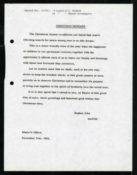 Press Release - Christmas Message 1962