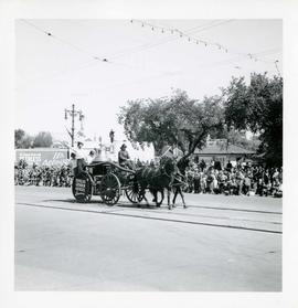Winnipeg's 75th Anniversary parade - horse drawn fire engine