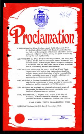 Proclamation - B'nai Brith Youth Organization Week
