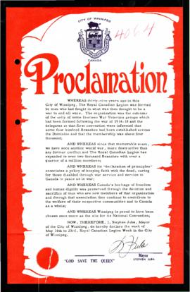 Proclamation - Royal Canadian Legion Week