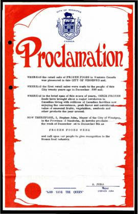Proclamation - Frozen Food Week