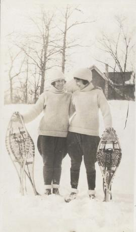 Two women with snowshoes