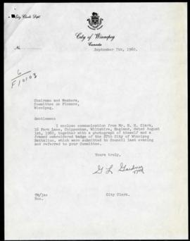 Letter from H. H. Clark to City regarding donation of embroidered badge of 27th Winnipeg Battalion