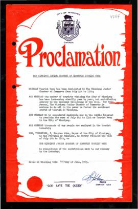 Proclamation - The Winnipeg Junior Chamber of Commerce Tourist Week