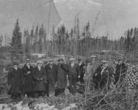 Officials at city wood camp, Greater Winnipeg Water District Railway