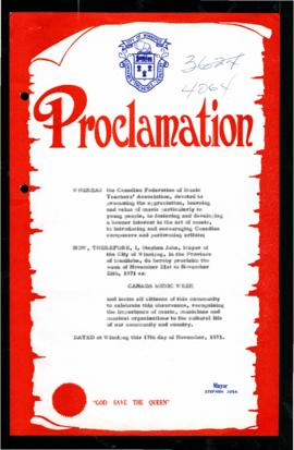 Proclamation - Canada Music Week