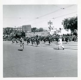Winnipeg's 75th Anniversary parade - marching band and clowns