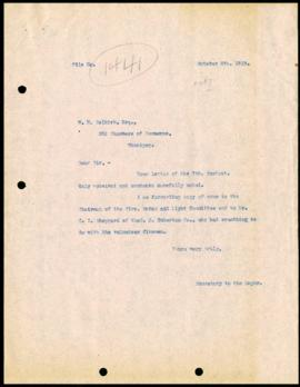 Mayor's Office to W.H. Selkirk regarding his volunteer fire work during the General Strike