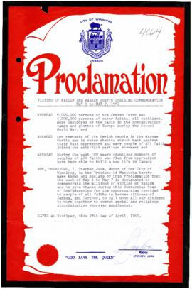 Proclamation - Victims of Nazism and Warsaw Ghetto Uprising Commemoration