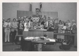 City Council posing with teddy bears promoting Winnipeg's first Annual Teddy Bears' Picnic