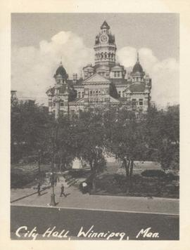 "City Hall, Winnipeg, Man. showing ""Welcome Visitors"" sign"