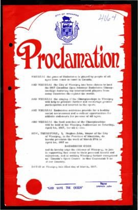 Proclamation - Badminton Week