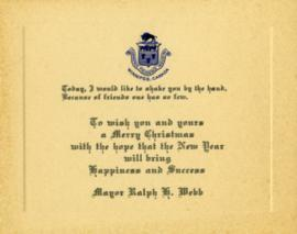 Christmas card from Mayor Ralph H. Webb