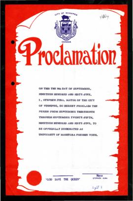 Proclamation - University of Manitoba Freshie Week