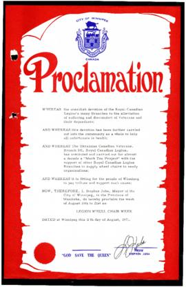 Proclamation - Legion Wheel Chair Week