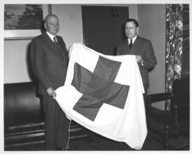 Presentation of Red Cross Flag to Mayor Garnet Coulter, February 28, 1949