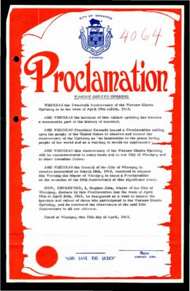 Proclamation - Warsaw Ghetto Uprising Commemoration