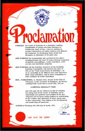 Proclamation - Manitoba DeMolay Week